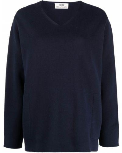 Niebieski prosto sweter z okrągłym dekoltem z dekoltem w szpic Sminfinity