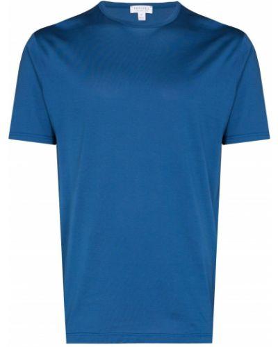 Синяя футболка с круглым вырезом Sunspel