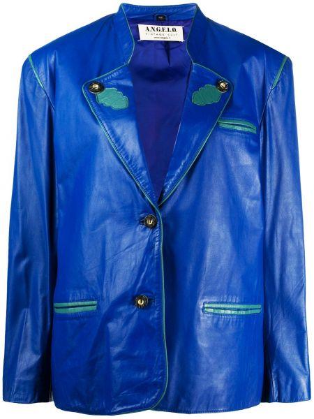 Синий кожаный удлиненный пиджак винтажный A.n.g.e.l.o. Vintage Cult