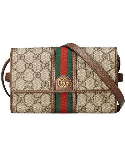 Кожаная сумка через плечо - коричневая Gucci