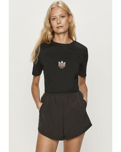 Czarny top sportowy z printem Adidas Originals