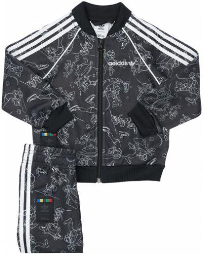 Z rękawami czarny spodnie na gumce z kieszeniami z paskami Adidas Originals