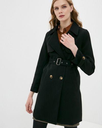 Черное пальто двубортное Moki