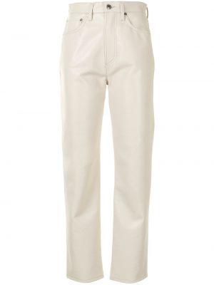 Prosto bawełna biały klasyczne spodnie z kieszeniami Agolde