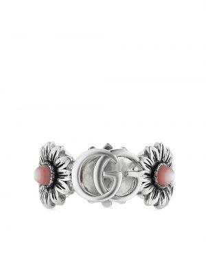 Różowy pierścionek perły srebrny Gucci