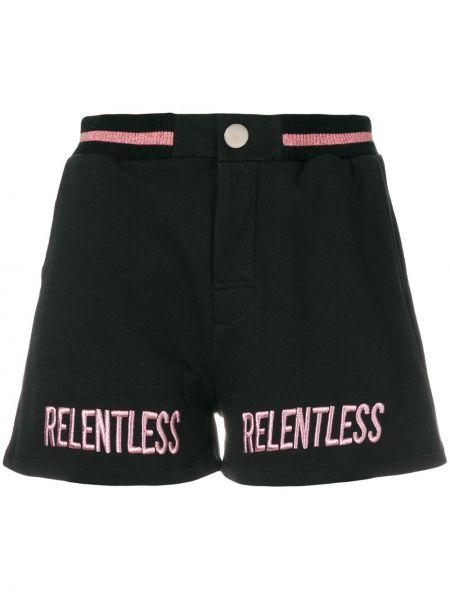 Хлопковые черные шорты с вышивкой Zoe Karssen