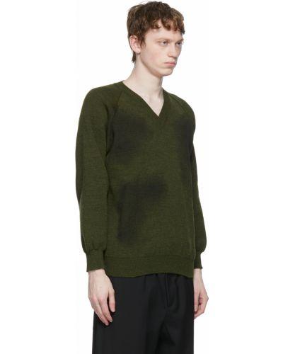 Czarny długi sweter z dekoltem w serek z długimi rękawami Comme Des Garcons Homme Deux
