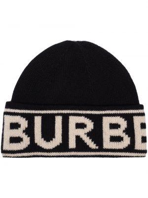 Kaszmir czarny czapka zimowa Burberry