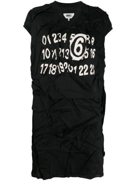 Czarny sukienka bez rękawów z falbankami z dekoltem w szpic Mm6 Maison Margiela