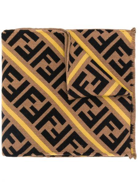 Żółty szalik wełniany w paski Fendi