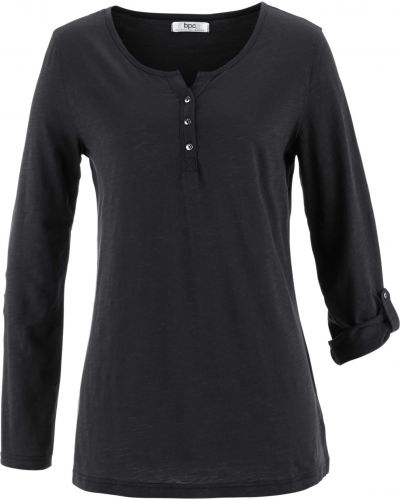 Хлопковая с рукавами черная футболка Bonprix