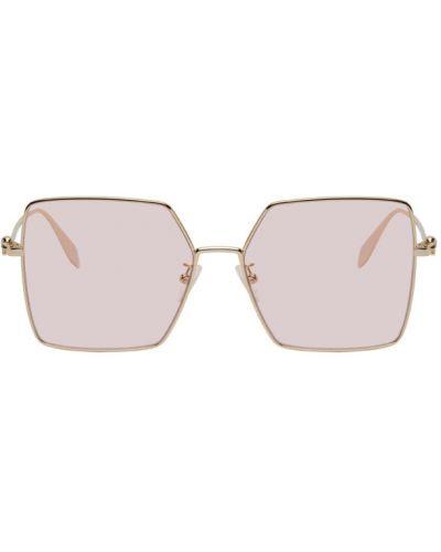 Кожаные розовые солнцезащитные очки квадратные Alexander Mcqueen