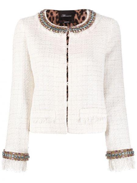 Ватная белая длинная куртка с длинными рукавами Blumarine