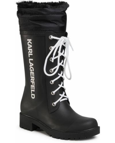 Czarne kozaki materiałowe Karl Lagerfeld