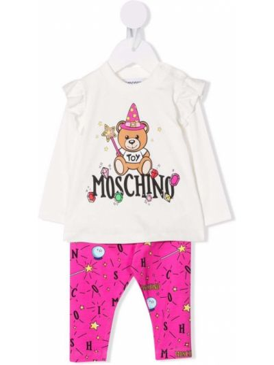 Biały dres z printem Moschino Kids