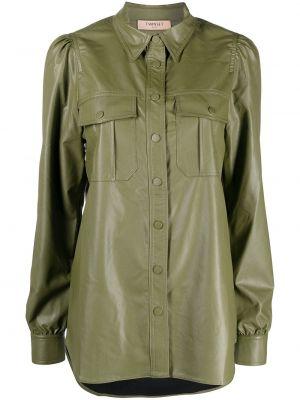 Кожаная классическая рубашка с длинными рукавами с воротником Twin-set