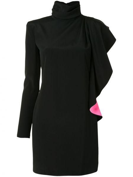 Черное прямое платье мини с оборками с воротником Redemption