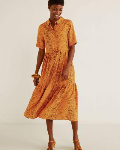 Платье миди из вискозы прямое Mango