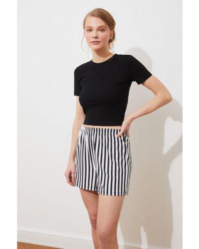 Czarna piżama bawełniana w paski Trendyol
