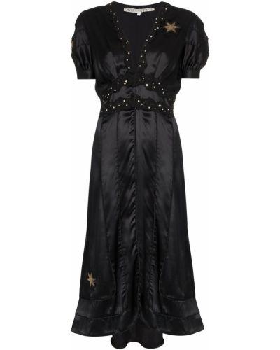 Черное приталенное платье миди винтажное на молнии One Vintage