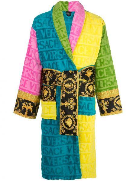 Szlafrok bawełniany z długimi rękawami z printem Versace Home