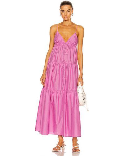 Хлопковое розовое платье с карманами Matteau