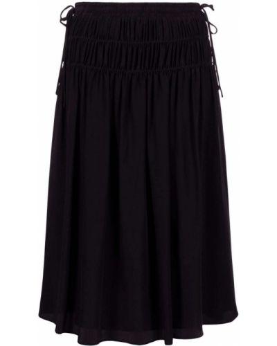 С завышенной талией черная юбка миди с оборками Paul Smith