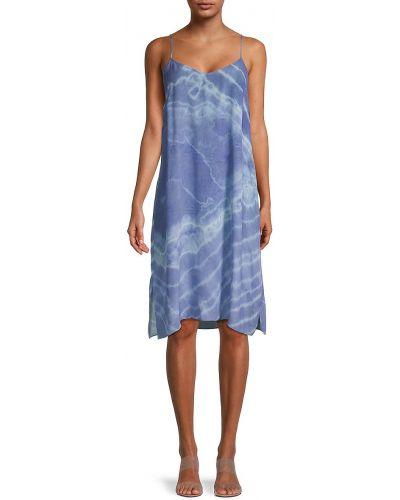 Шелковое синее купальное платье на бретелях Nicole Miller