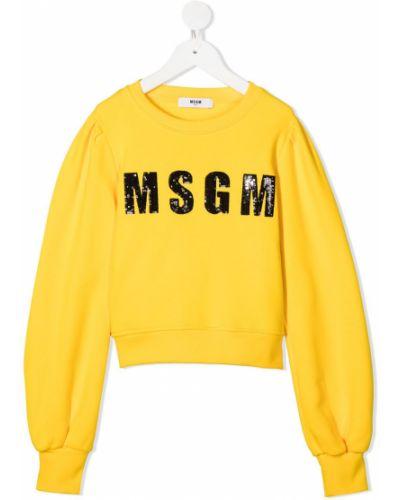 Желтый длинный свитер с вырезом круглый Msgm Kids