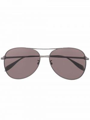 Okulary srebrne - czarne Alexander Mcqueen Eyewear