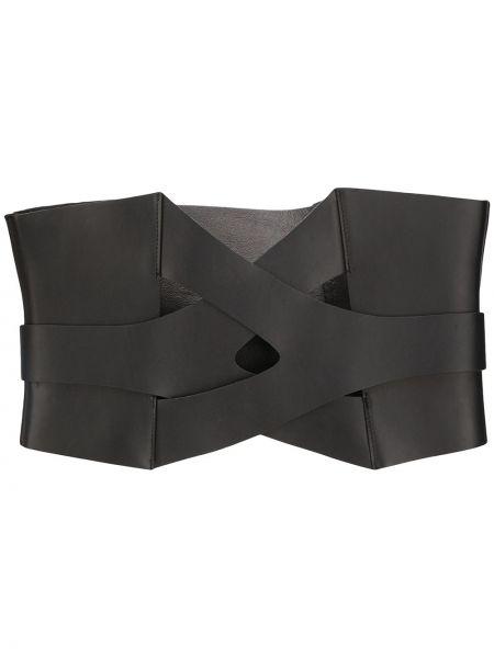 Кожаный черный ремень с поясом Manokhi