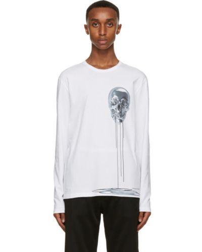 Белая футболка с длинными рукавами с черепами Alexander Mcqueen