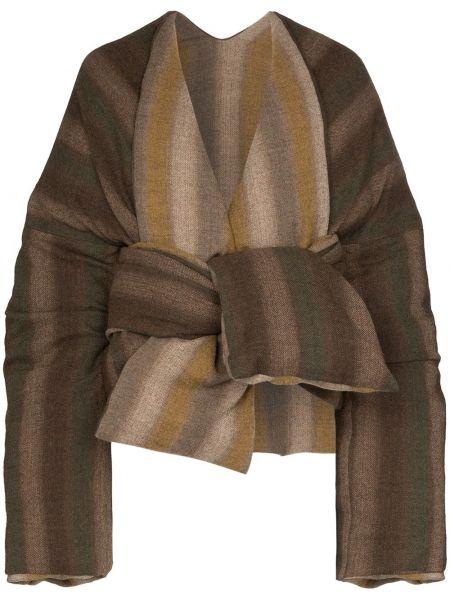 С рукавами шерстяная коричневая куртка с завязками Asai