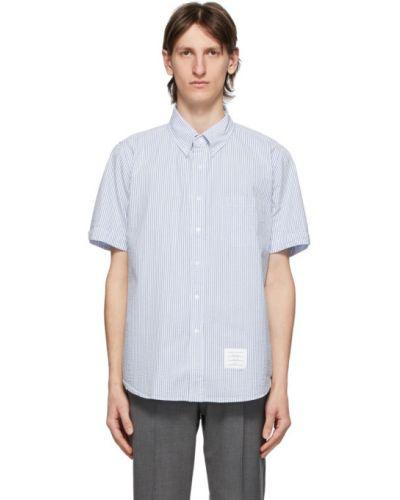 Koszula krótkie z krótkim rękawem w paski z paskami Thom Browne