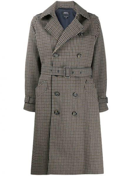С рукавами шерстяное длинное пальто с лацканами A.p.c.