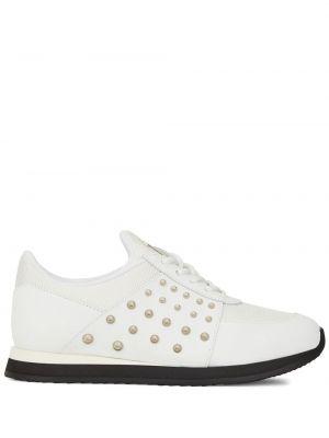 Biały ażurowy skórzany sneakersy zasznurować Giuseppe Zanotti