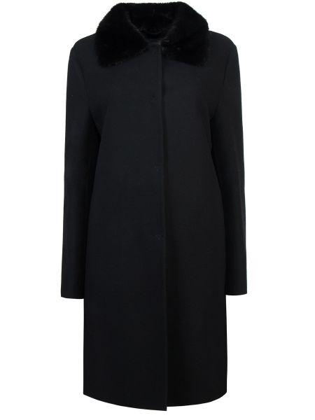 Черное шерстяное пальто с воротником с карманами Ermanno Scervino