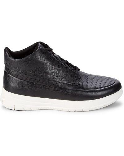 Кожаные высокие кроссовки - черные Fitflop