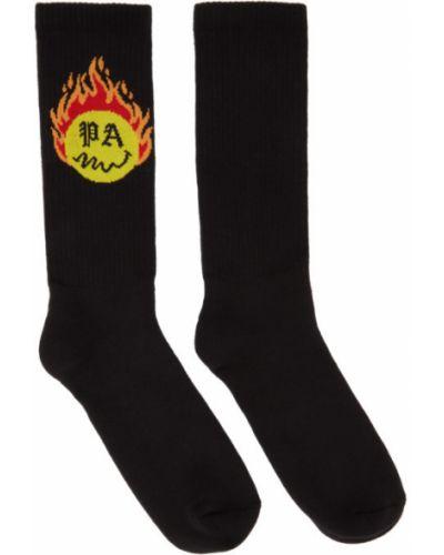 Хлопковые желтые носки высокие с манжетами Palm Angels
