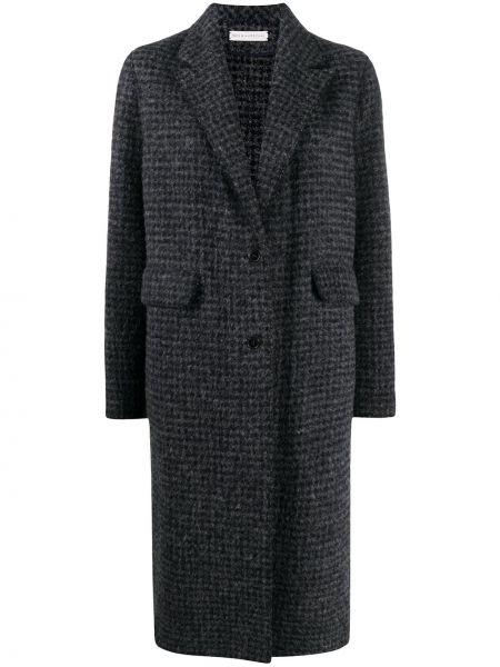 Серое однобортное пальто классическое на пуговицах из альпаки Inès & Maréchal