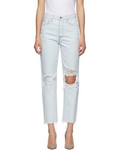 Синие укороченные джинсы стрейч с манжетами с заплатками Grlfrnd