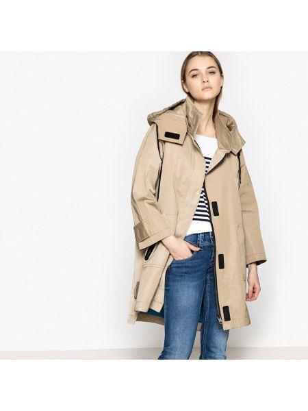 Бежевое пальто с капюшоном Pepe Jeans