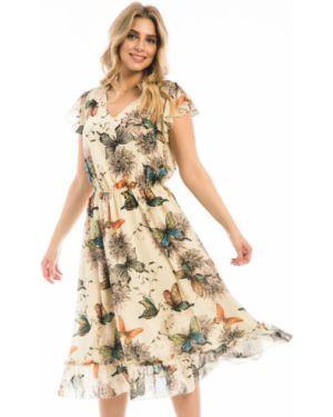 Платье с поясом с V-образным вырезом шифоновое Modellos