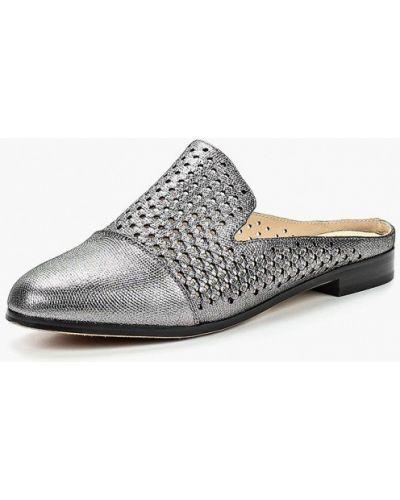 Сабо кожаные серебряного цвета Shoiberg