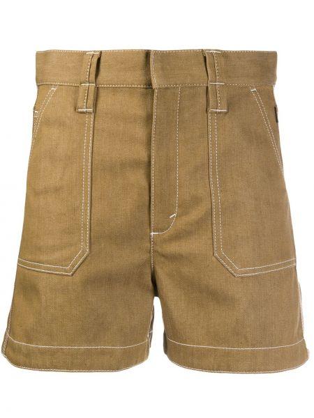 Однобортные коричневые шорты сафари с карманами Chloé