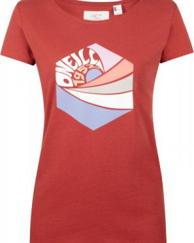 Красная хлопковая прямая футболка с короткими рукавами O`neill