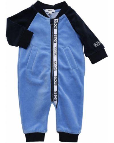 Z rękawami bawełna bawełna niebieski pajacyk Hugo Boss