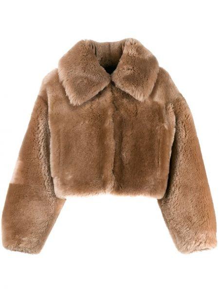 Коричневая кожаная куртка с воротником Blancha