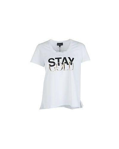 Белая хлопковая футболка Emporio Armani