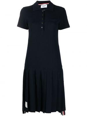 Niebieska sukienka mini bawełniana krótki rękaw Thom Browne